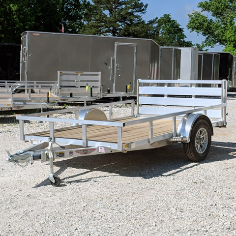 HH TRAILERS 76X10 Single Axle Aluminum Trailer Bi-Fold Gate Tube Rails Radial Tires and LED Lights - Haul Supply