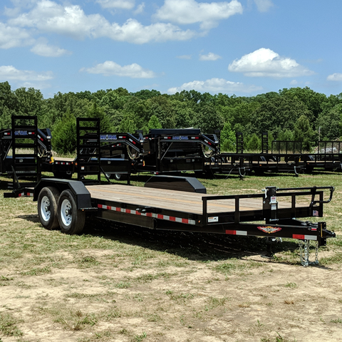 82X22 Tandem Axle Equipment Trailer Fold Up Ramps Dove Tail Radial Tires and LED Lights