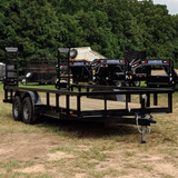 82X18 Tandem Axle Equipment Trailer Fold-Up Ramps Side Rails Radial Tires and LED Lights