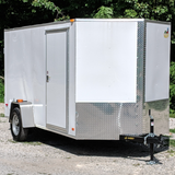 "COVERED WAGON TRAILERS 6X12 Single Axle V-Nose Cargo Trailer 78"" Interior Height Rear Ramp and Radial Tires - Haul Supply"