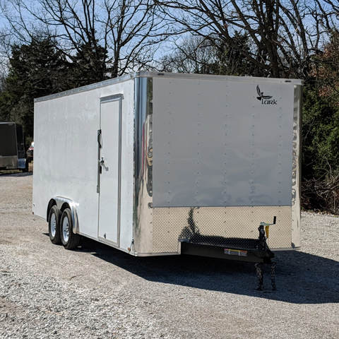 "8X20 Flat Front Tandem Axle Cargo Trailer with 84"" Interior Height Rear Ramp and LED Lights"