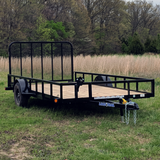 83X14 Single Axle Utility Trailer 4' Fold Gate Radial Tires and LED Lights