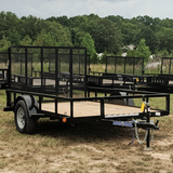 LOAD TRAIL 77X10 Single Axle Utility Trailer 4' Fold Gate Radial Tires and LED Lights - Haul Supply