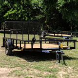 83X12 Single Axle Utility Trailer 4' Fold Gate Pipe Top Rails Radial Tires and LED Lights