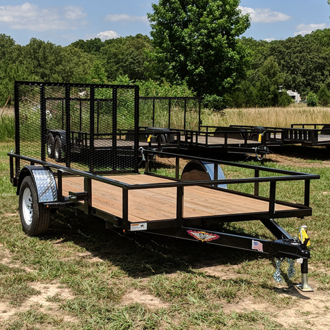 HH TRAILERS 76X12 Single Axle Utility Trailer Rear Gate Radial Tires and LED Lights - Haul Supply