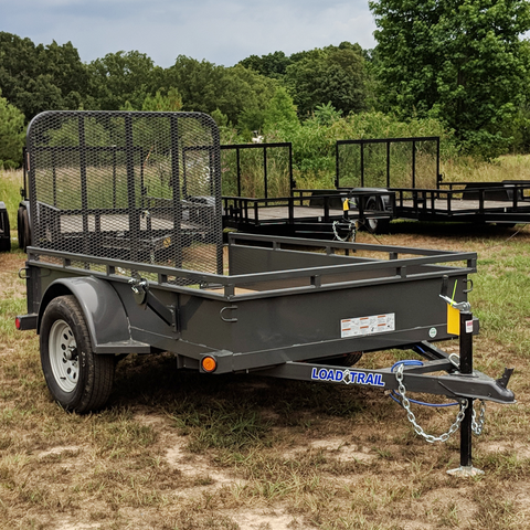LOAD TRAIL 60X08 Single Axle Solid Sides Utility Trailer 4' Fold In Gate Radial Tires and LED Lights - Haul Supply