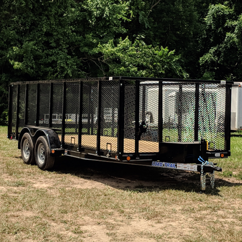 "83X18 Tandem Axle Landscape Utility Trailer 4' Fold Gate 48"" Removable Side Radial Tires and LEDs"