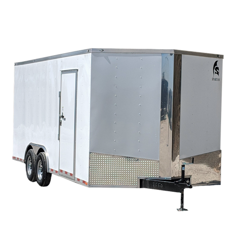 "8.5X18 Tandem Axle V-Nose Cargo Trailer 84"" Interior Height Rear Ramp w/16"" Flap and Beaver Tail Radial and LEDs"
