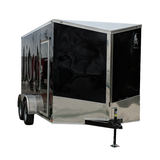"7X16 Tandem Axle Slanted V-Nose Cargo Trailer with 78"" Interior Height Rear Ramp Beavertail Radial Tires and LEDs"