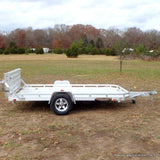 "ALUMA, LTD. 77X12 Single Torsion Axle Aluminum Utility Trailer with 5' Bi-Fold Tailgate 14"" Radial Tires and LED Lights - Haul Supply"