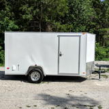 COVERED WAGON TRAILERS 6X12 Single Axle V-Nose Enclosed Cargo Trailer Double Rear Doors and Radial Tires - Haul Supply