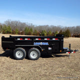 "LOAD TRAIL 72X12 Tandem Axle Dump Trailer 24"" Sides and 3 Way Gate Slide-In Ramps Radial Tires and LED Lights - Haul Supply"