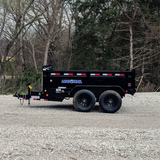 "72X10 Tandem Axle Dump Trailer 24"" Dump Sides with 24"" 3 Way Gate 16"" 10 ply Radial Tires and LED Lights"