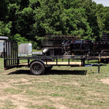83X12 Single Axle Utility Trailer 4' Fold Gate Dove Tail Pipe Top Rails Radial Tires and LED Lights