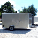 "7X12 Single V-Nose Cargo Trailer with 78"" Interior Height Rear Ramp Undercoating and Smooth Rivetless Exterior"
