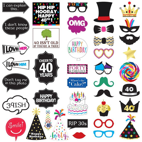 & Fabulous™ 40th Birthday Photo Booth Party Props