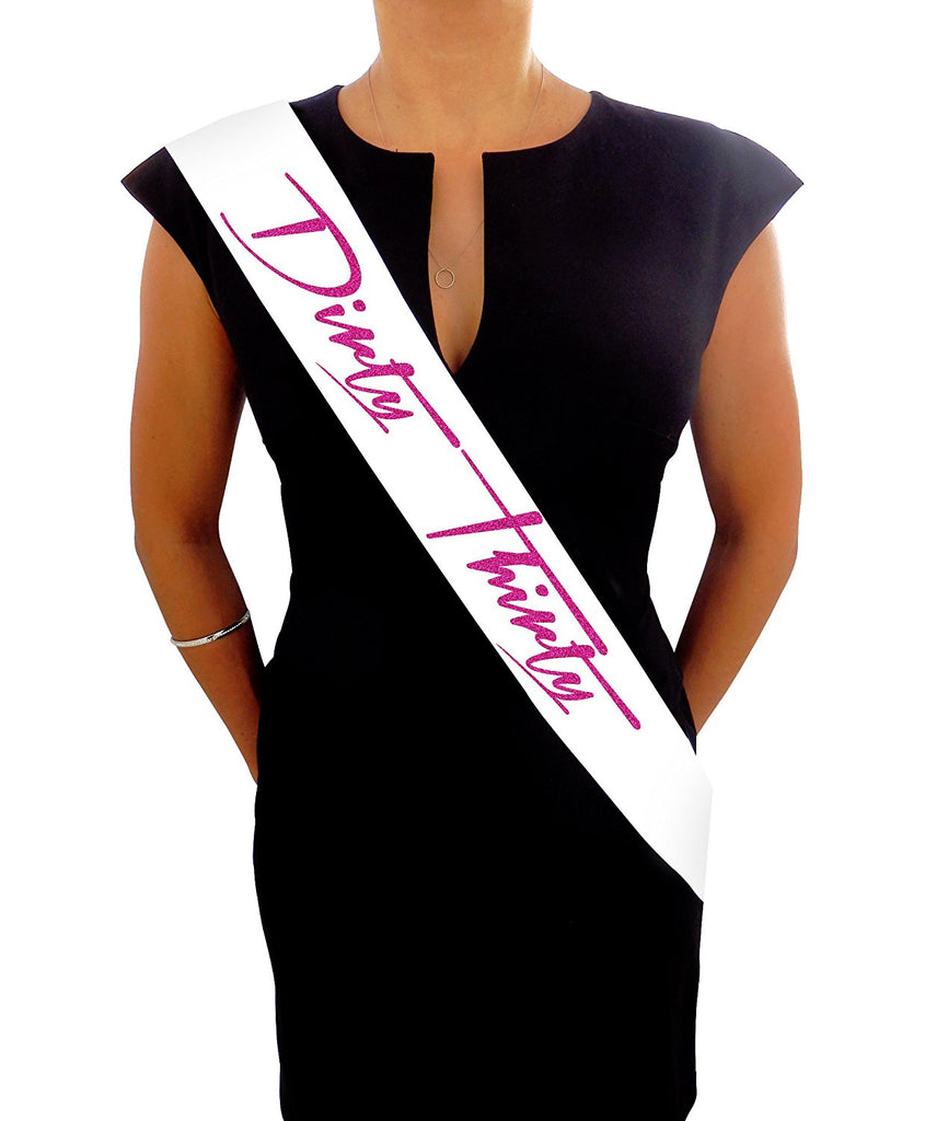 """Dirty Thirty"" White and Pink Glitter Satin Sash"
