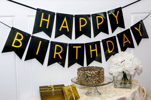 Black Happy Birthday Bunting Banner
