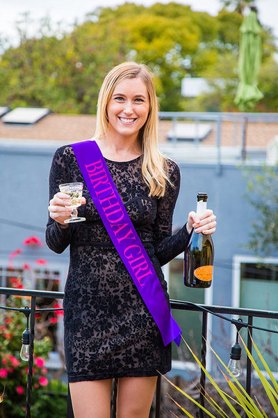 "Cheers to Years™ Purple ""Birthday Girl"" Sash"