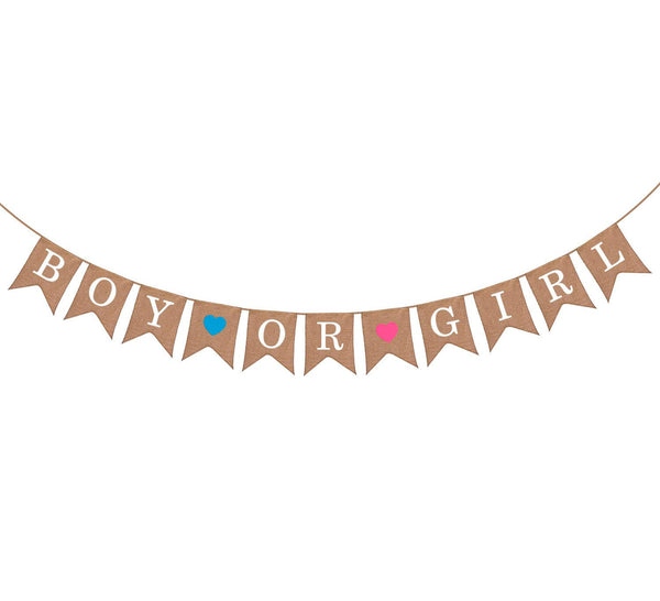 Gender Reveal Burlap Banner