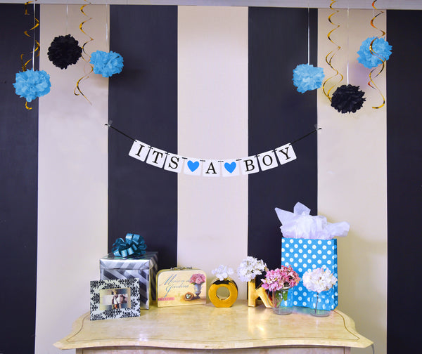 "Boy Baby Shower Banner - ""It's A Boy"""