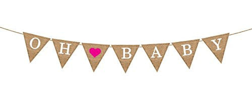 """Oh Baby"" Girl Burlap Banner - Baby Shower Decorations - Gender Reveal Baby Announcement"