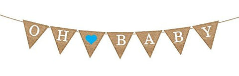 "Oh Boy™ ""Oh Baby"" Blue Burlap Banner"