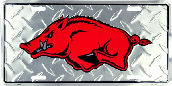 Arkansas Razorbacks Diamond License Plate