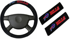 Buffalo Bills  NFL Steering Wheel Cover and Seatbelt Pad Auto Deluxe Kit - Fanz of Sportz