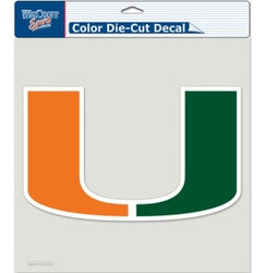 "Miami Hurricanes Die-Cut Decal - 8""x8"" Color"
