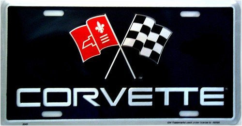 Corvette Flag Logo License Plate