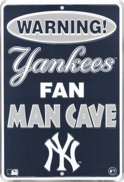 New York Yankees Fan Man Cave Parking Only MLB Embossed Metal Novelty Parking Sign