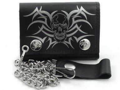 "Tribal Skull Leather Tri-Fold 4"" Wallet with Chain"