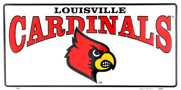 Louisville Cardinals White License Plate