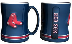 Boston Red Sox Coffee Mug - 14oz Sculpted Relief - Blue