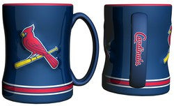 St. Louis Cardinals Coffee Mug - 14oz Sculpted Relief - Blue