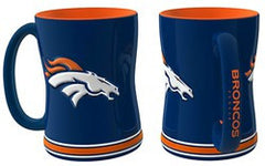 Denver Broncos 14oz Blue Sculpted Relief Coffee Mug - Fanz of Sportz