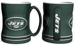 New York Jets Coffee Mug - 14oz Sculpted Relief