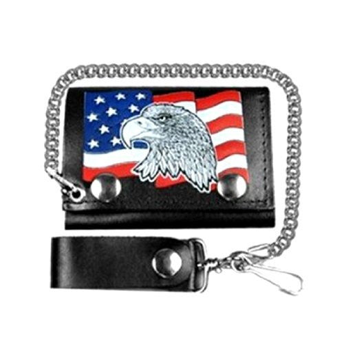 "EAGLE & AMERICAN FLAG 4"" Leather Tri-Fold 4"" Wallet with Chain"