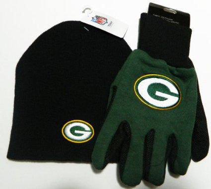 Green Bay Packers Black Knit Beanie and Gloves Set