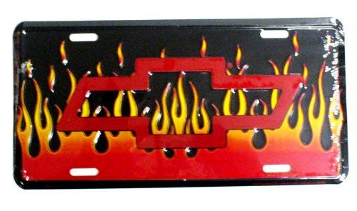 "Chevy Bowtie on Flames 6"" x 12"" Embossed License Plate"