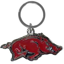 Arkansas Razorbacks Chrome Logo Cut Keychain