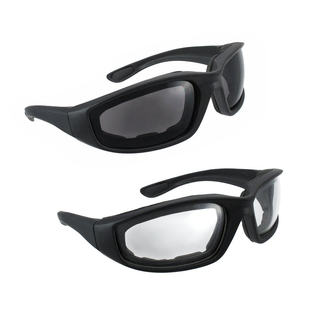 Motorcycle Riding Glasses - 2 Pair Smoke & Clear Foam Padded