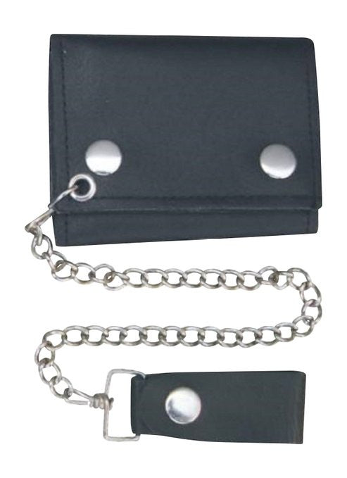 "Plain Black 4"" Leather Tri-Fold Wallet with Chain"