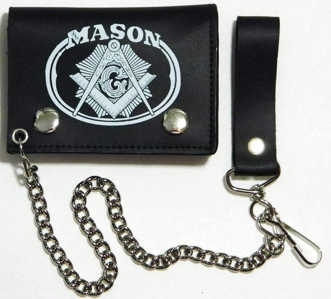 "Mason Black Leather Tri-Fold 4"" Wallet with Chain"