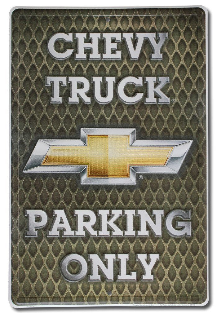 "Chevy Truck Parking Only Metal Sign 12"" x 18"""