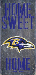 "Baltimore Ravens Wood Sign - Home Sweet Home 6""x12"" - Fanz of Sportz"