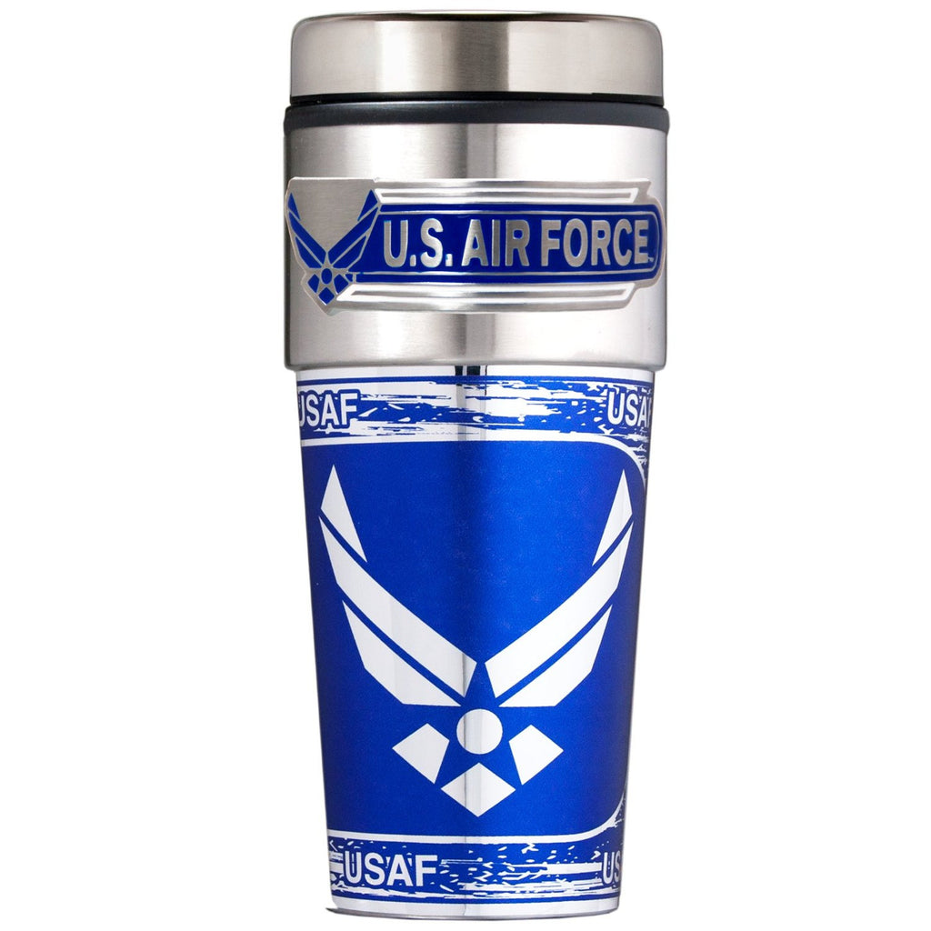 Air Force Metallic Travel Tumbler, 16-Ounce, Metallic Wrap and Emblem