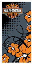 Harley-Davidson Towel - Beach - Flowers Design
