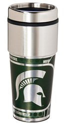 Michigan State Spartans 16 ounce Travel Tumbler with Metallic Graphics